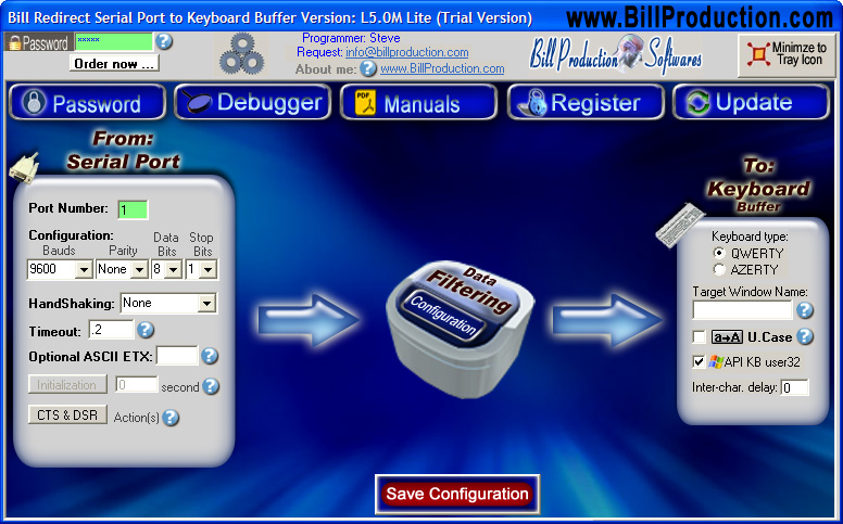 Click to view Redirect serial port RS232 to Keyboard 6.0B screenshot